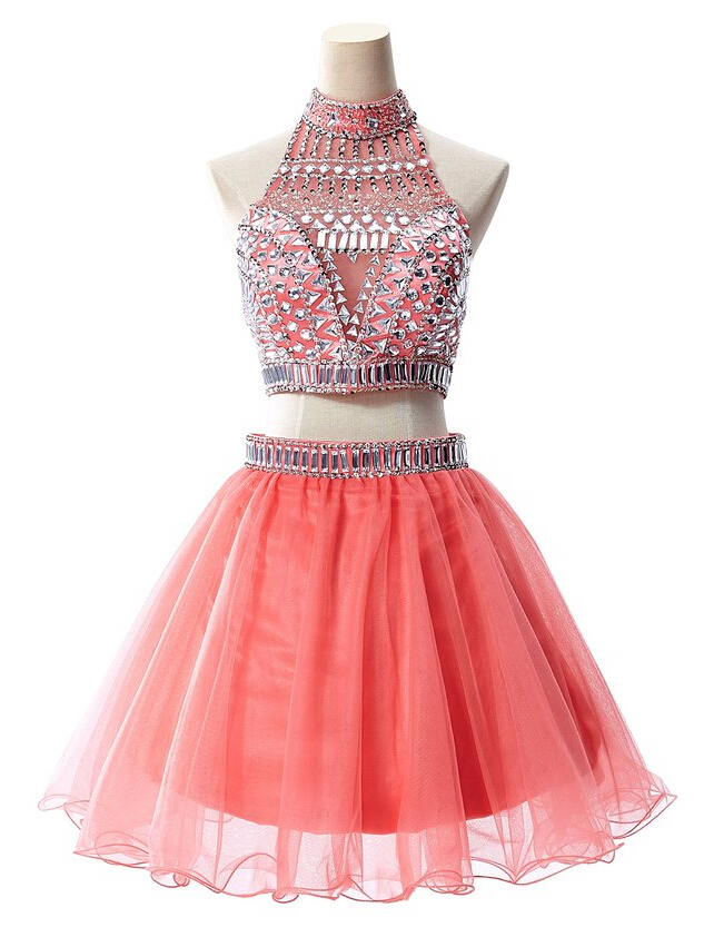 Halter Homecoming Dress TULLE PROM DRESS Coral red Beading Two pieces SHORT DRESSES MINI New Arrival PARTY DRESSES