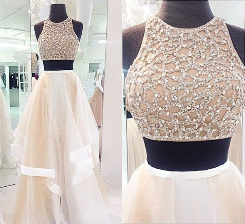 2015 Long Popular Two Piece Prom Dress Evening Dress Affordable Beautiful Handmade Prom Dress Prom Dress