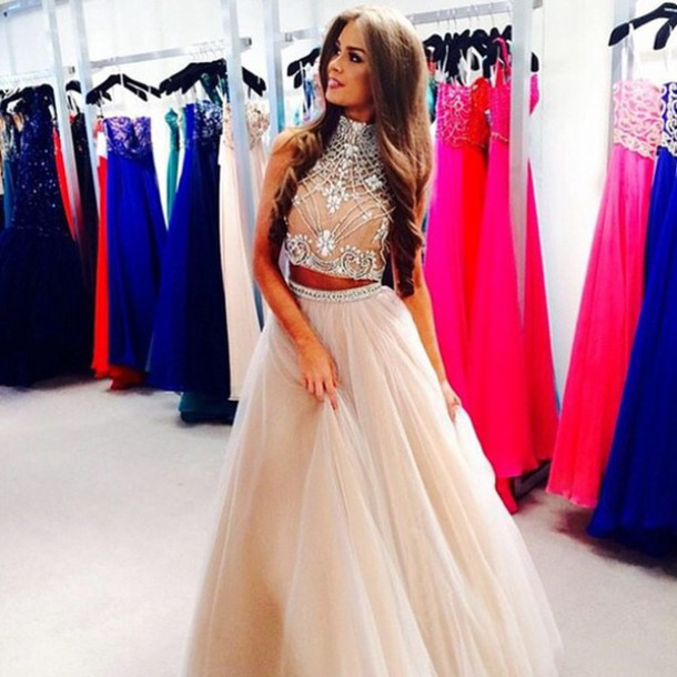 8f4e10692aa9 Custom Made Light Champagne 2 Pieces Long Prom Dress, Dresses For Prom Two  Pieces Prom