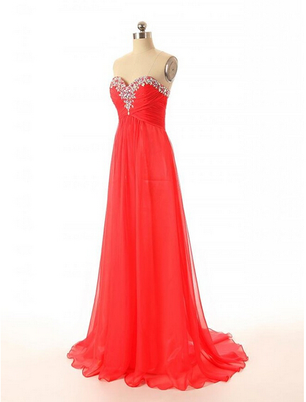 Sweetheart Chiffon Charming Beading Prom Dresses, A-Line Floor-Length Evening Dresses, Prom Dresses, Real Made Prom Dresses On Sale