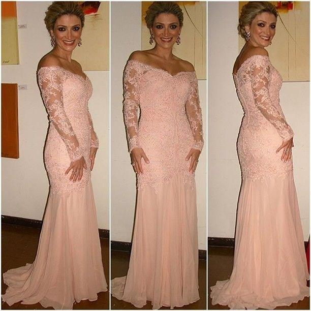 Elegant V Neck Long Sleeve Lace Peach Prom Dresses Vestidos De