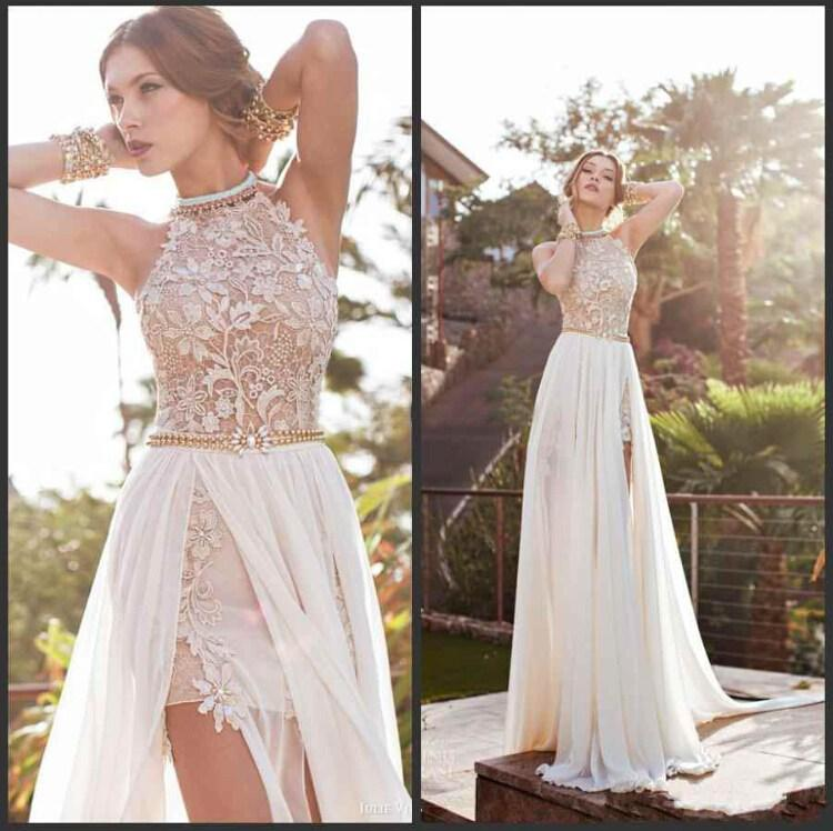 Vintage Beach Prom Dresses High Neck Beaded Crystals Lace Applique Floor  Length Side Slit Evening Gowns fa03e4027