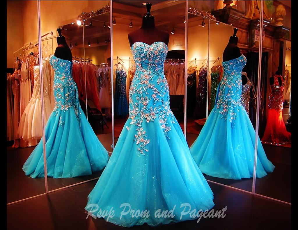 Charming Mermaid Sweetheart Sky Blue Sexy Prom Dress Applique Beads Affordable Lady Trumpet Lace up Prom Dresses Party Gown Evening Dress
