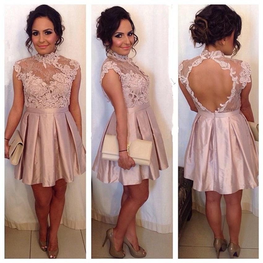 Lace High Neck with Short Formal Dresses