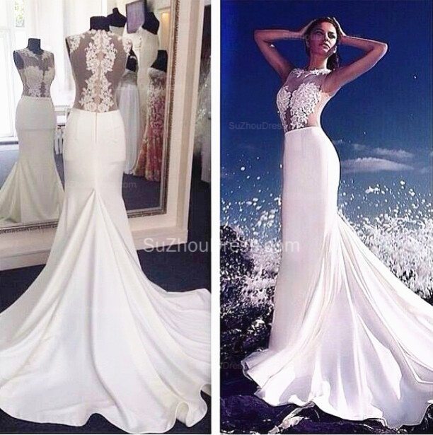 Custom White Appliques Mermaid Evening Dresses 2015 Sheer O-Neck ...