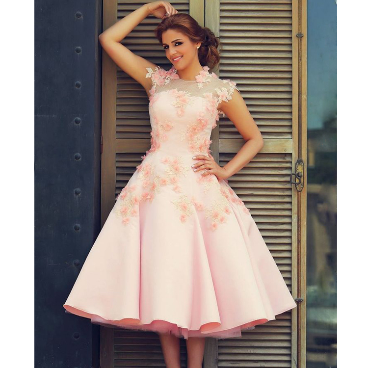 6f0914ff7801 Said Mhamad Prom Dresses High Neck Evening Dresses Pink Special Occasion  Dresses Satin Evening Gowns Hand Made Flowers Pageant Dress Tea Length  Party ...