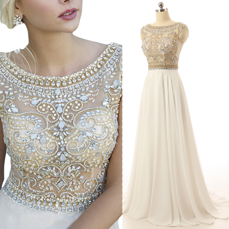 Gorgeous Ivory Prom Dress Cap Sleeve Prom Dresses Beaded Long