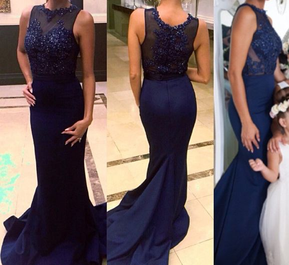 Navy Blue Satin Mermaid Evening Gown With Beaded Prom Dress Applique Evening Gown Party Dress