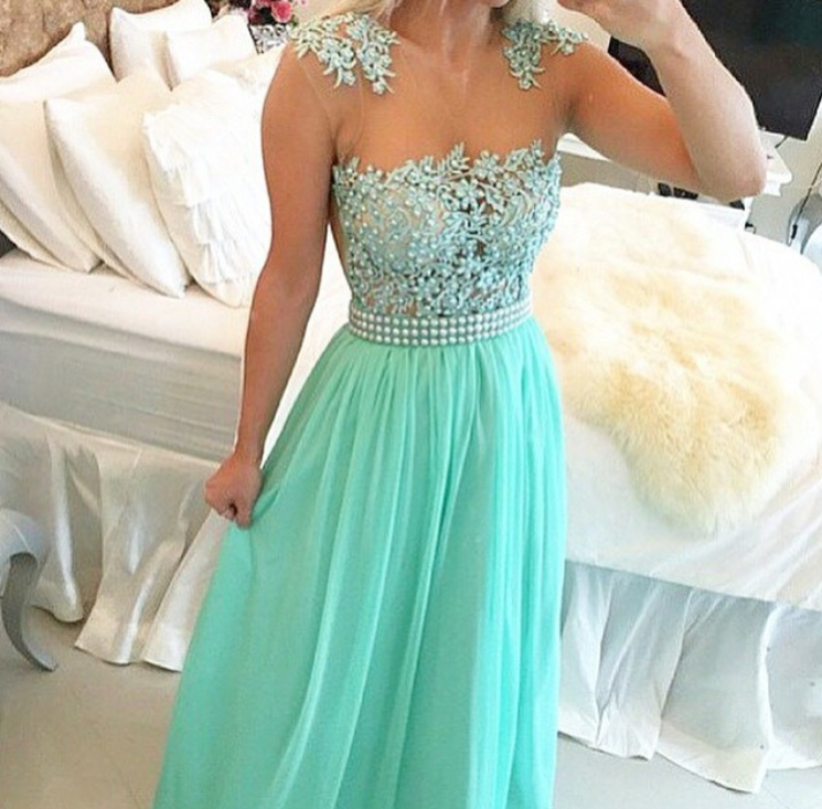 56ca9501c7560 Mint Green Chiffon Illusion Neckine Beaded Prom Dress With Lace Appliques  Bodice EVEning dresses