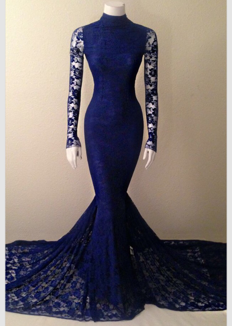 6878b2f216 Navy Blue Lace High Neck Mermaid Evening Gown With Long Sleeves evening  dress