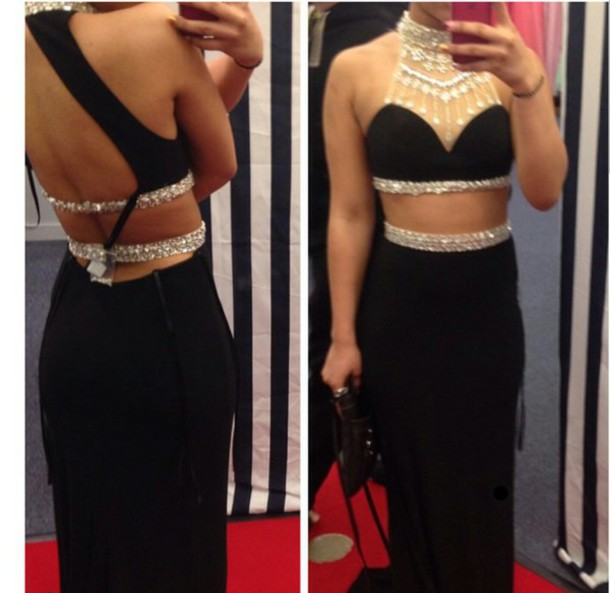 New Design Backless Beading Black 2 Pieces Prom Dresses Sexy Black Chiffon Evening Dresses Graduation Dresses 2015 Real Made Cross Back Prom Gowns On Sale