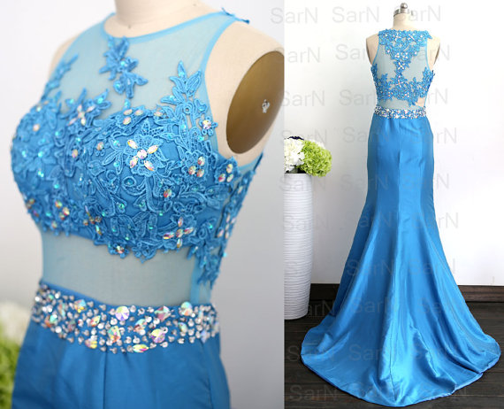 Mermaid Taffeta Blue Prom Dresses Sexy Gown Lace Taffeta Prom Dresses With Crystals Lace Blue Mermaid Prom Gown