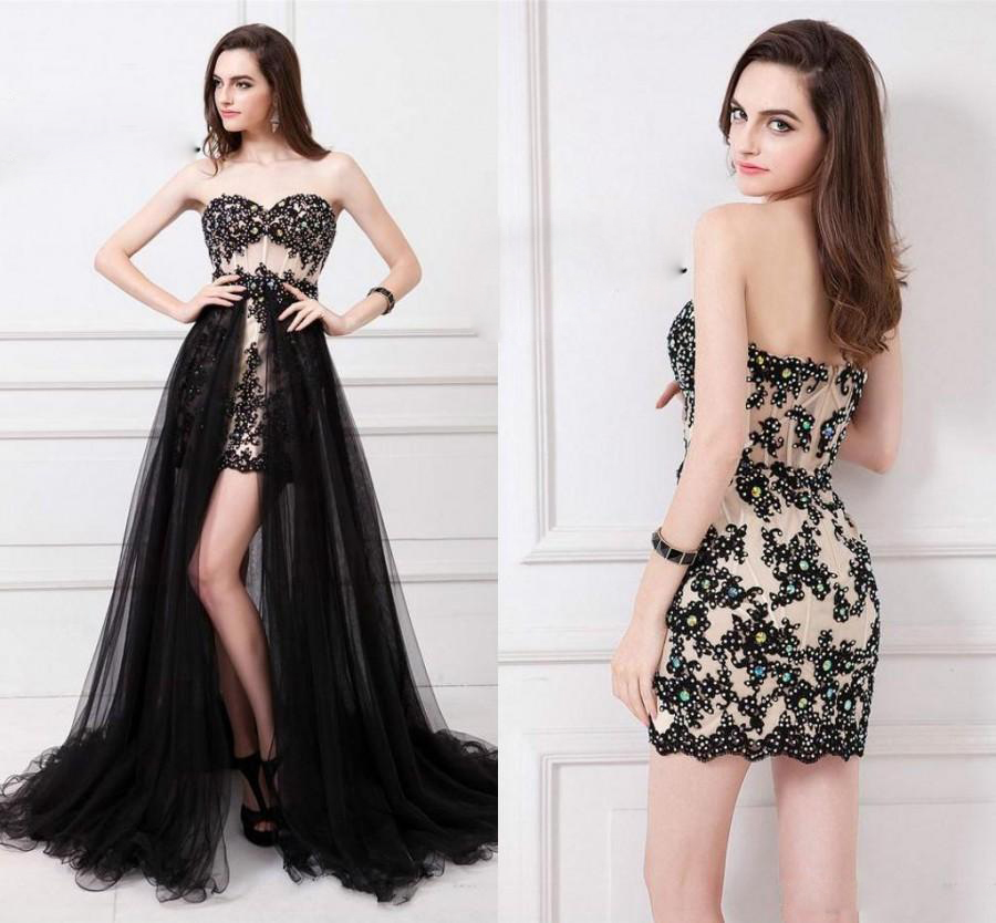 6f7d9edcc4928 Sexy Sweetheart With Appliques And Tulle Train Front Short Evening Dresses  Prom Dresses Party Dresses Women