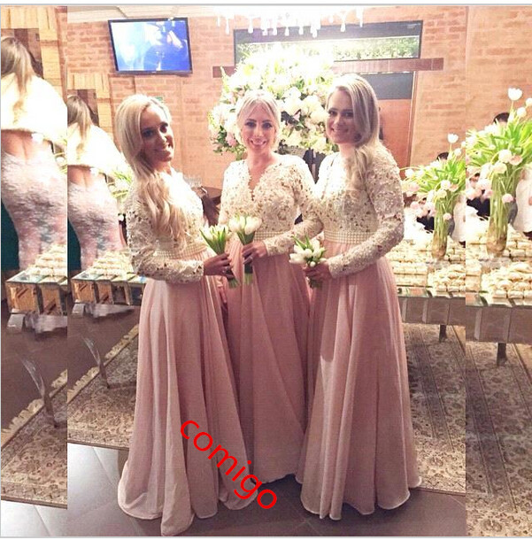 Pink Long Sleeve Bridesmaid Gown Blush Chiffon Bridesmaid Dress ...