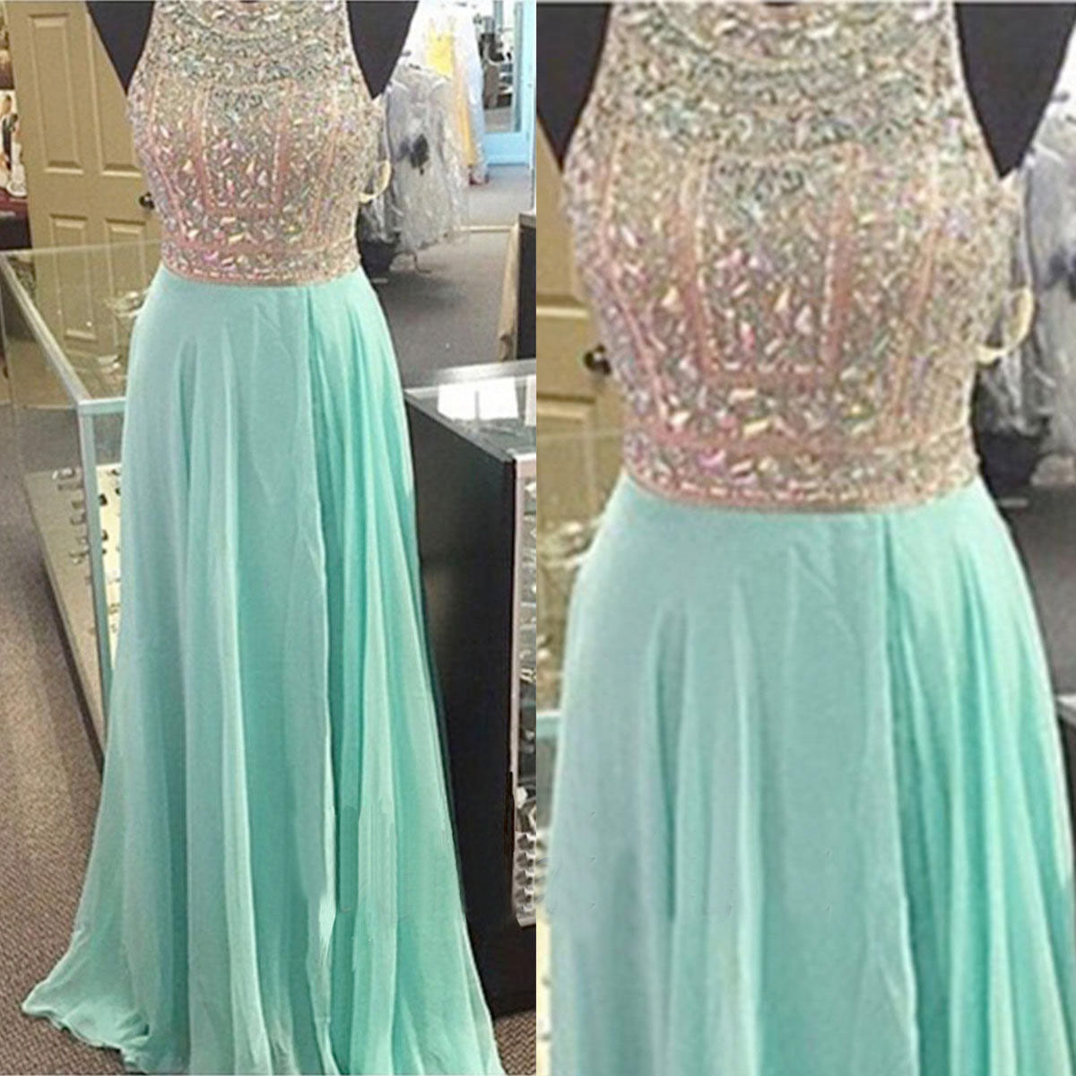 Rhinestone Prom Dresses Mint Prom Dress Sexy Prom Dresses Cheap Prom ...