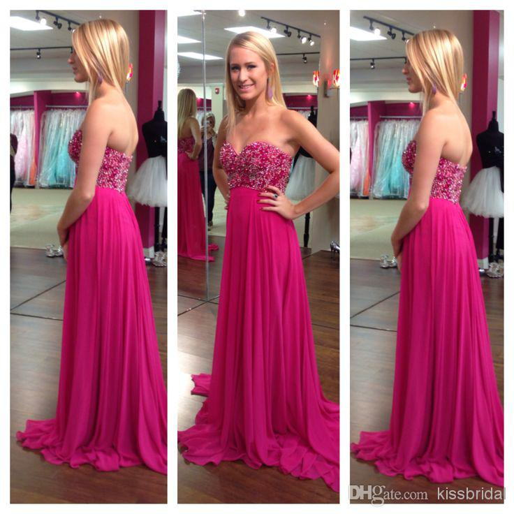 Fascinating New Prom Dresses Sweetheart Neck Beaded A-Line Sleeveless Floor  Length Chiffon Elegant Evening 250b6b8b2896