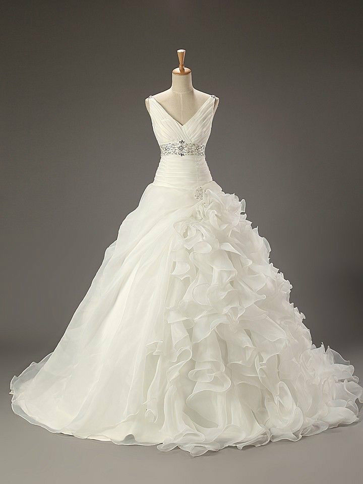 Classic white wedding wedding dress V-neck spaghetti straps pleated long tail wedding dress wedding custom 46810121416 +++