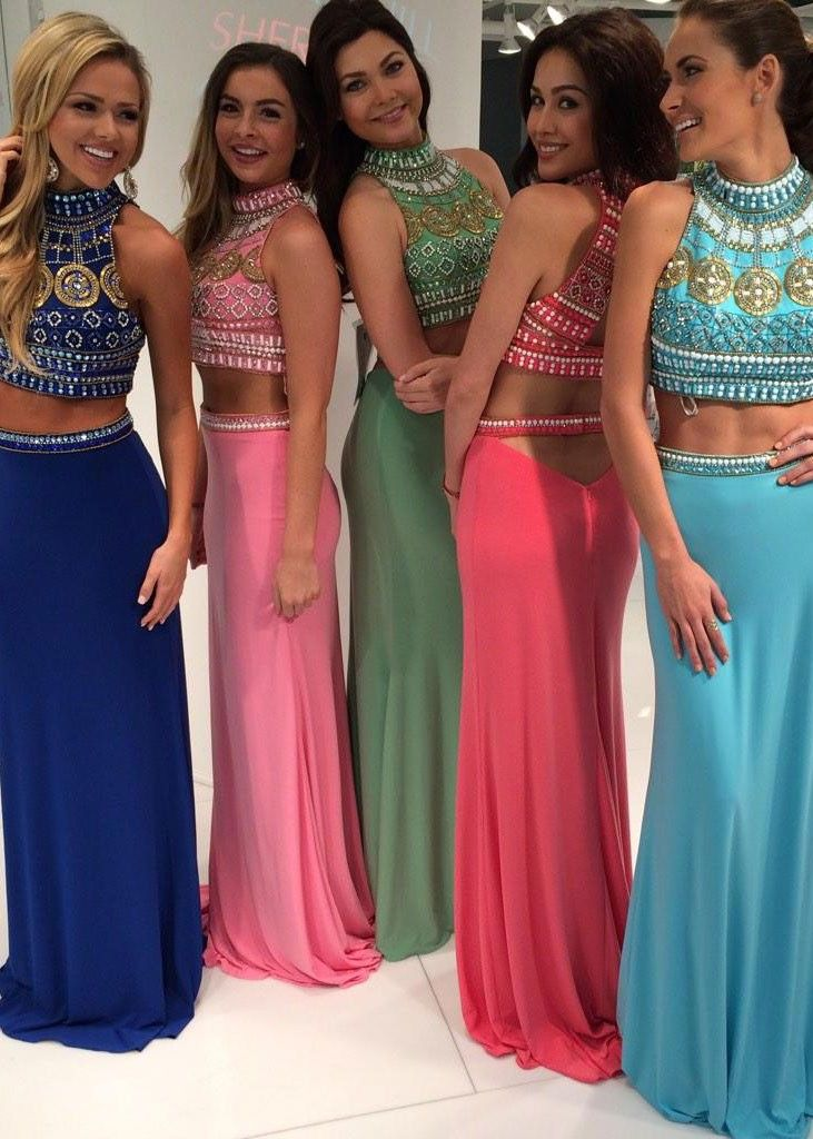 b4e418e0a24 Real Image Sexy Prom Dresses Two 2 Pieces Bling Luxury Sparkle Mermaid High  Beads Rhinestones Crystals Open Back Long Formal Evening Party Gowns  Vestidos