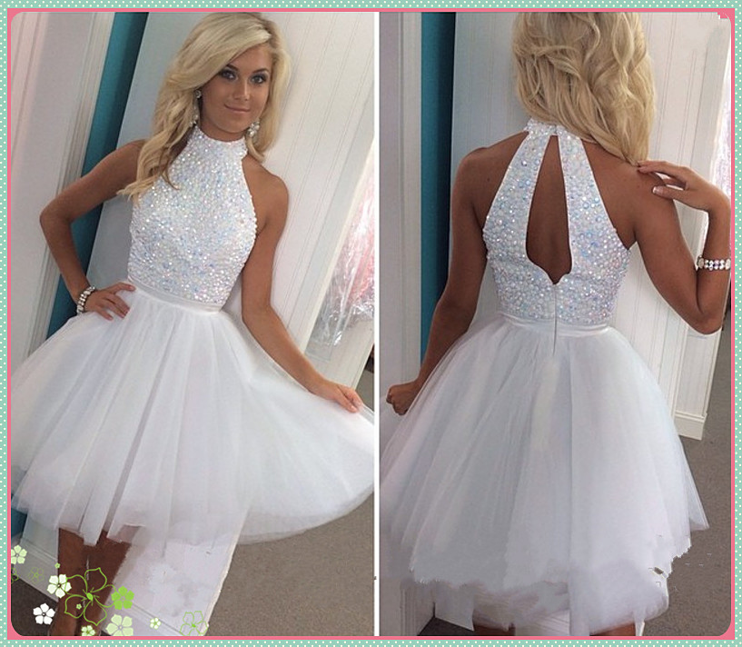 Short Prom Dress White Prom Dress Knee Length Prom Dress Pretty