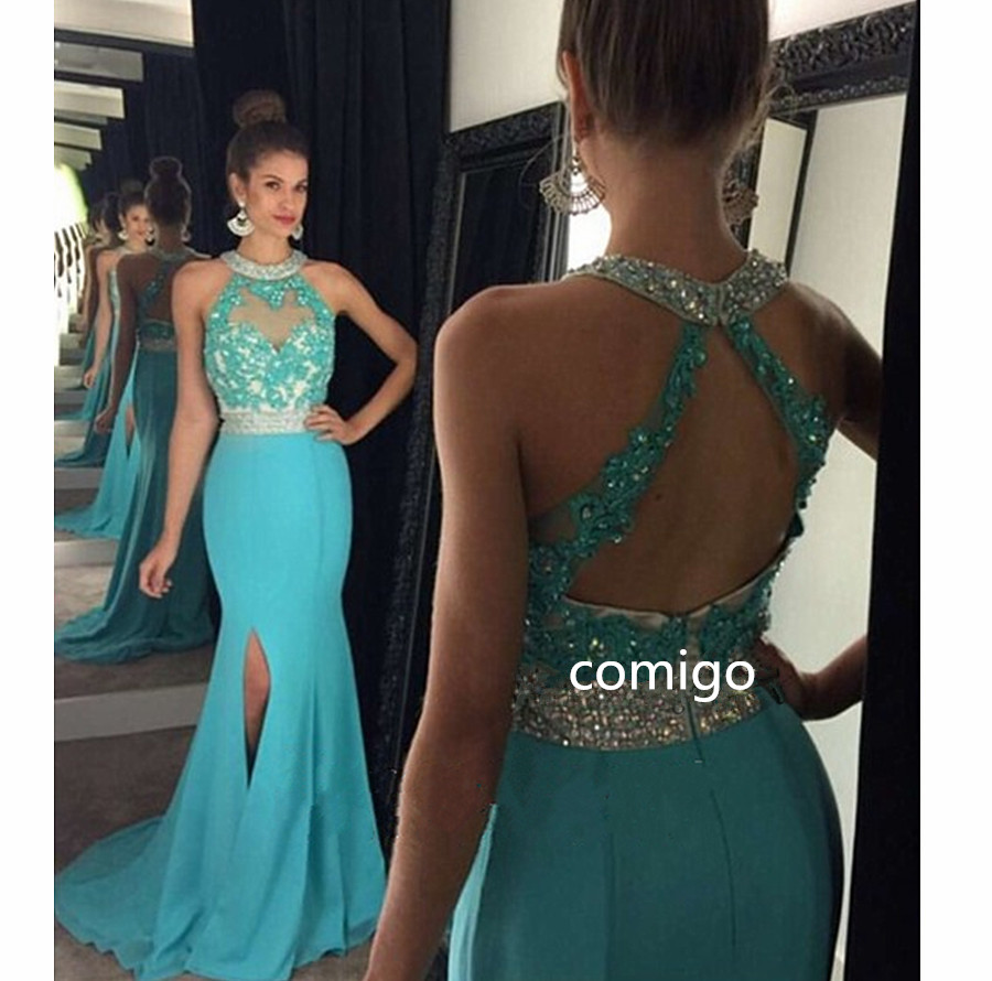 Prom Dresses Halter Prom Dress,Mermaid Prom Dresses,Blue Prom Dresses,Sexy Prom Dresses,Sparkle Prom Dresses