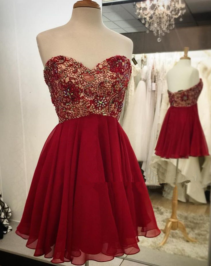 Lovely Short Burgundy Lace Beaded Prom Dresses Burgundy