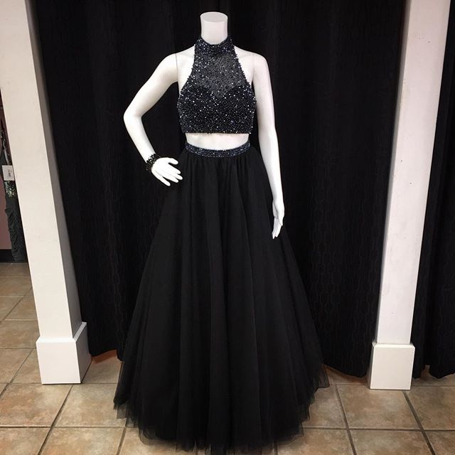Beaded Prom Dresses,Beading Prom Dress,Black Prom Gown,2 Pieces Prom ...
