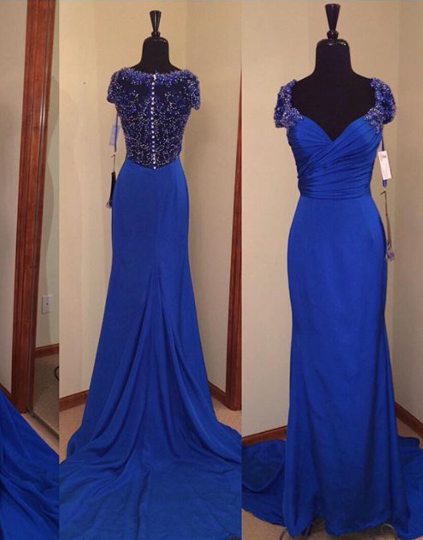Royal Blue Prom Dresses,Royal Blue Prom Dress,Beaded Formal Gown ...