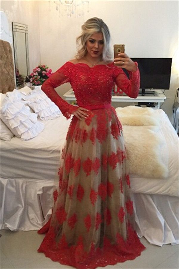 1db23f4a9e3 RED Lace Prom Dresses