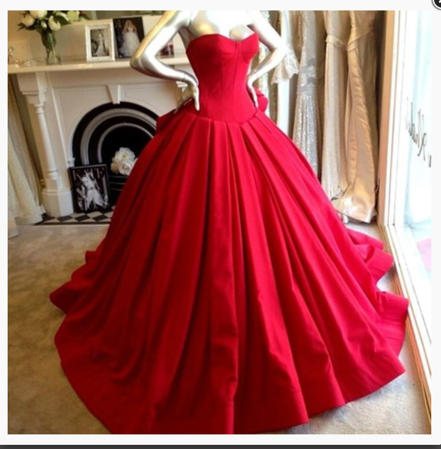 Evening Dress,Red Evening Dresses,Classic Prom Dress, Ball Gown ...
