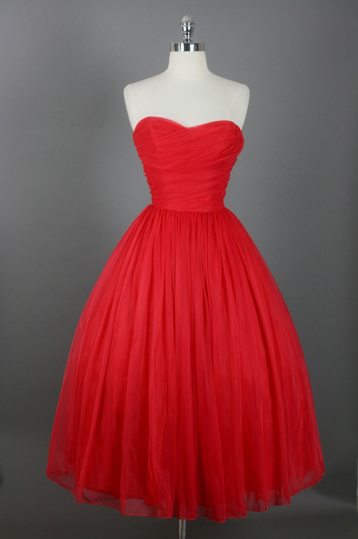 Knee Length Prom Dresses,Red Prom Gown,Vintage Prom Gowns,Elegant ...