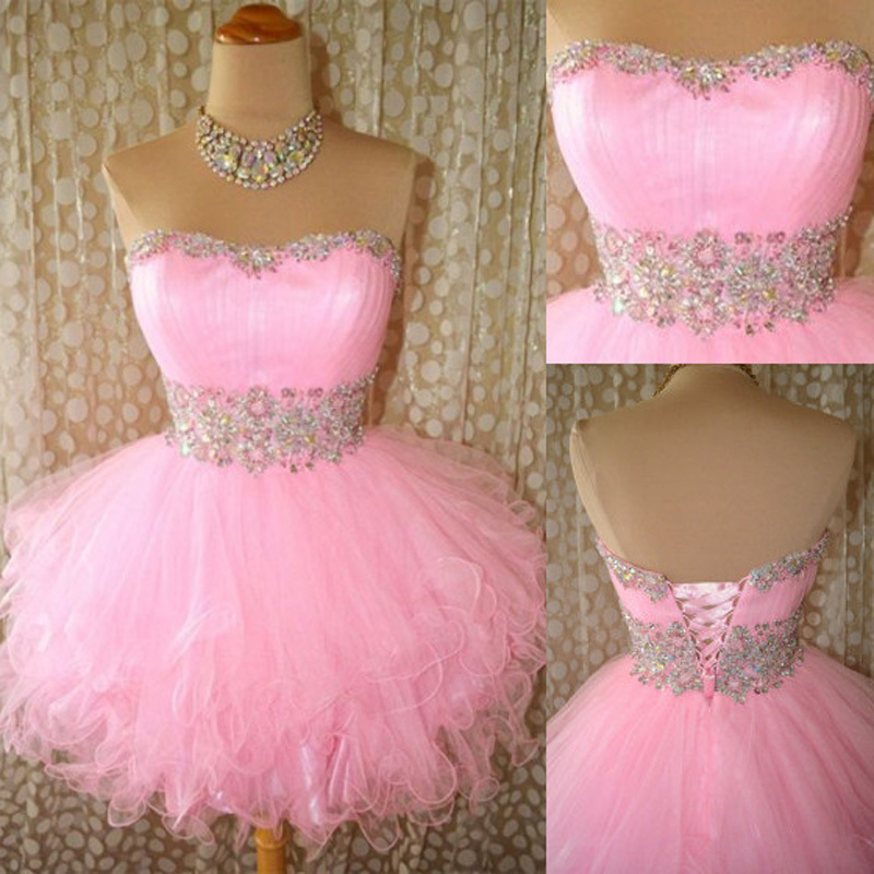 Pink Homecoming Dress,Strapless Homecoming Dresses,Tulle Homecoming ...