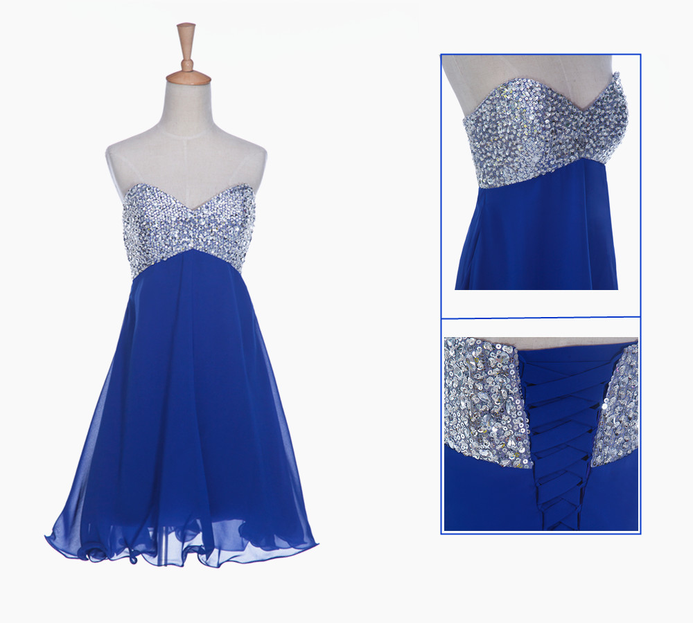 Royal Blue Homecoming Dress,Short Prom Dresses,Homecoming Gowns,Fitted Party Dress,Beading Prom Dresses,Sparkly Cocktail Dress,Corset Homecoming Gown