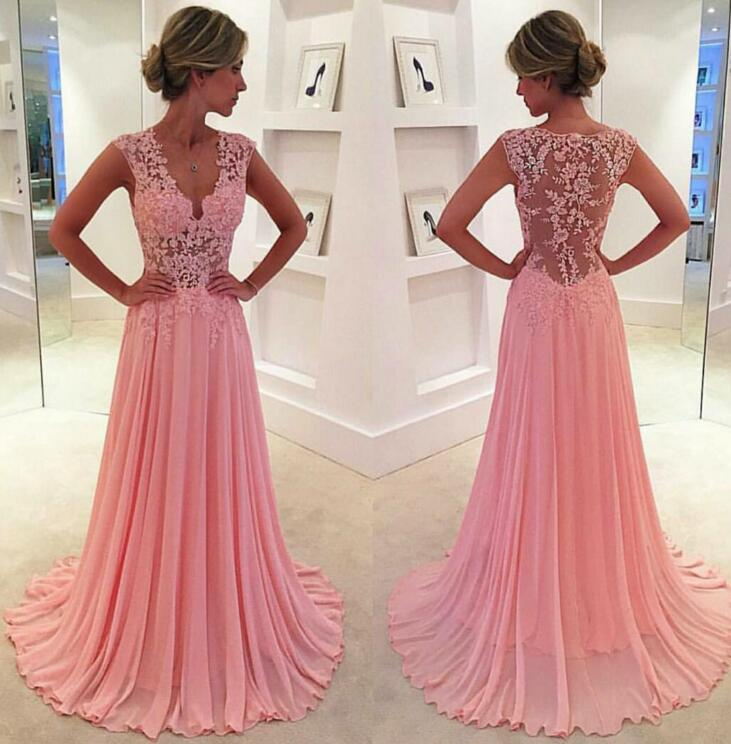 Pink Prom Dresses,Chiffon Prom Dress,Chiffon Prom Dresses,Simple ...