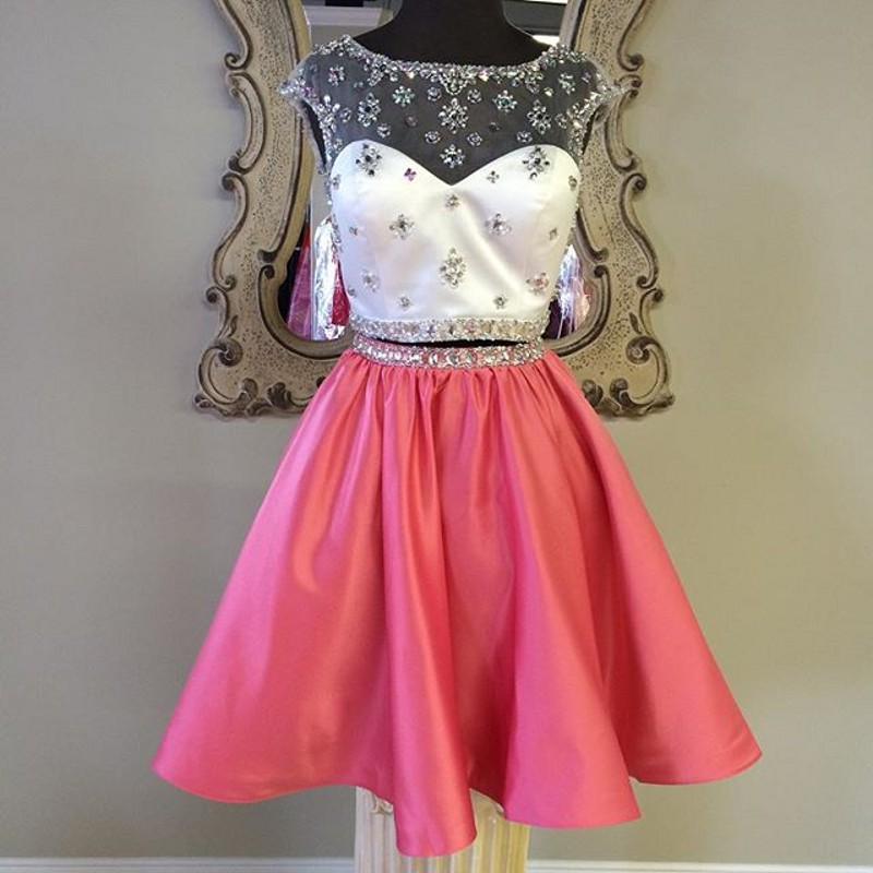 Coral Homecoming Dress,2 Piece Homecoming Dresses,Silver Beading ...