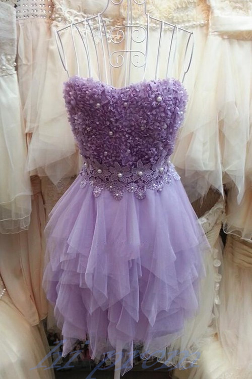 Lilac Homecoming Dress,2017 Homecoming Gown,Tulle Homecoming Gowns,Lace Party Dress,Strapless Prom Dresses,Ruffled Cocktail Dress,Formal Gown