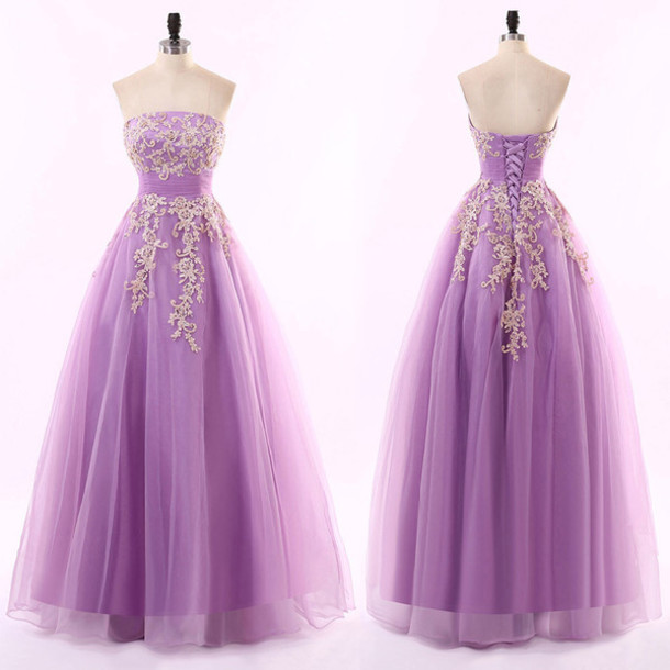 1a74a48c4a7 Purple Strapless A-line Tulle Long Prom Dress With Floral Appliqués ...