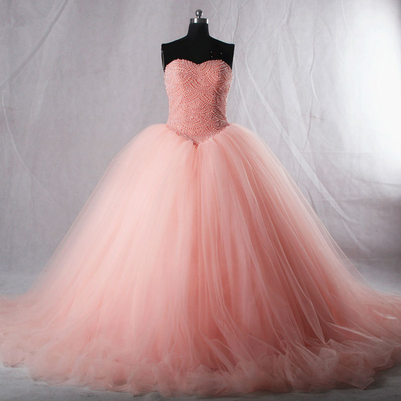 1a1d2ba032b Luxury Pink Quinceanera Dresses Sweetheart Pearls Corset Tulle Puffy Prom  Formal Wedding Ball Gowns Custom