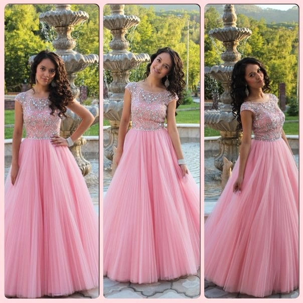 Cap Sleeves Prom Dress, Princess Style Pink Prom Dress , Shiny ...