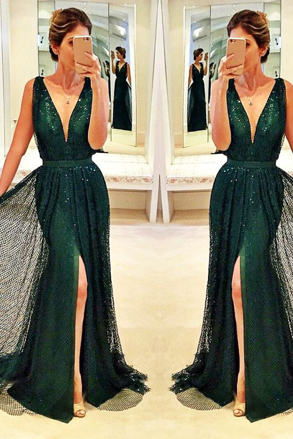 f722f77b6bf Beautiful Sleeveless V-Neck Front-Split Sexy Sequined Dark-Green Prom Dress