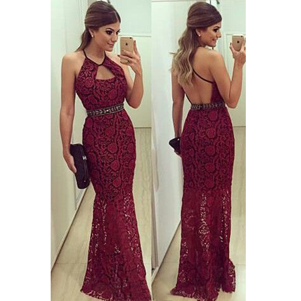 64b78bd04a8 Sexy Red Halter Lace Rhinestone Prom Evening Cocktail Party Dress on ...