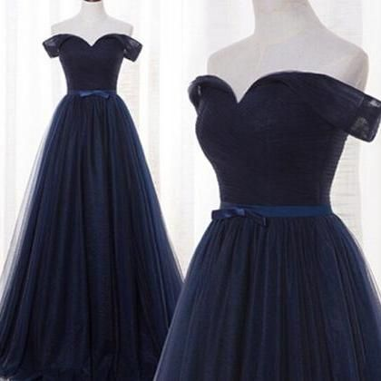 Navy Blue Prom Dress,Pretty Prom Dresses,Tulle Bridesmaid Gown,Simple Bridesmaid Dress,off the shoulder Evening Dresses,Tulle Wedding Gowns,Dark Navy Bridesmaid Dresses