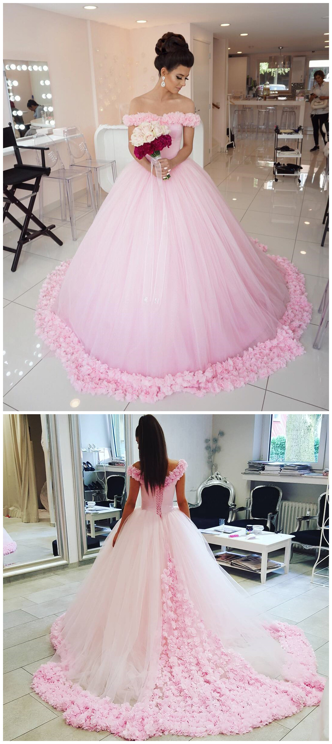 New Arrival Prom Dressmodest Prom Dresssparkly Flower Wedding