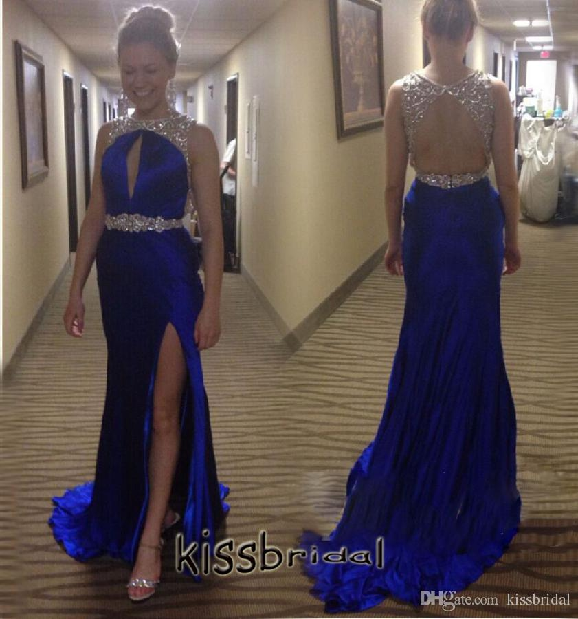 Satin Split Prom Dress,Royal Blue Prom Dresses,