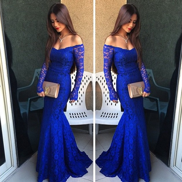 Custom Made Off-Shoulder Royal Blue Lace Long Sleeve Mermaid Prom ...