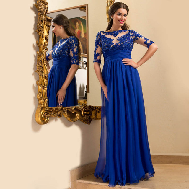 364ce950a0553 Half Sleeve Lace Prom Dress,Royal Blue Prom Dresses,Evening Dress on ...
