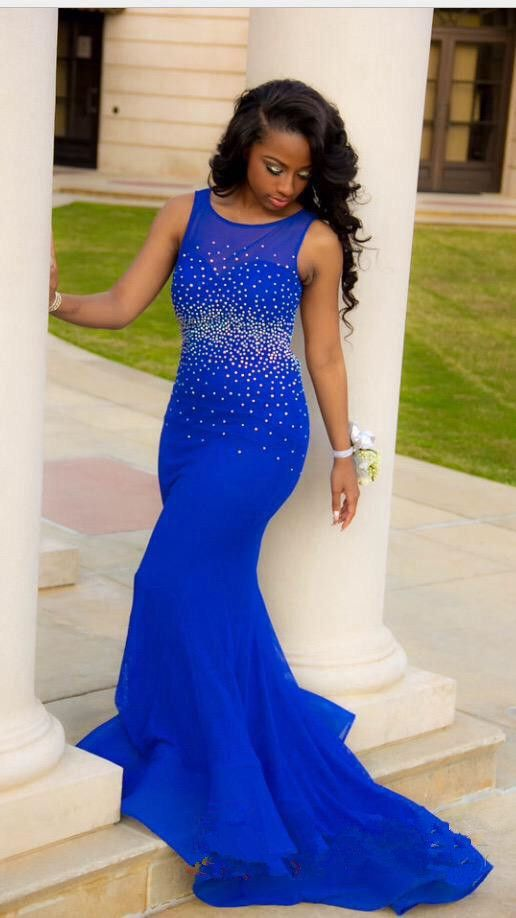 84d019b1829e Royal Blue Mermaid Prom Dresses, Open Back Prom Dresses, Beaded Prom Dresses,  Prom Dresses with Sweep Train, Long Prom Dresses, Sexy Evening Gowns