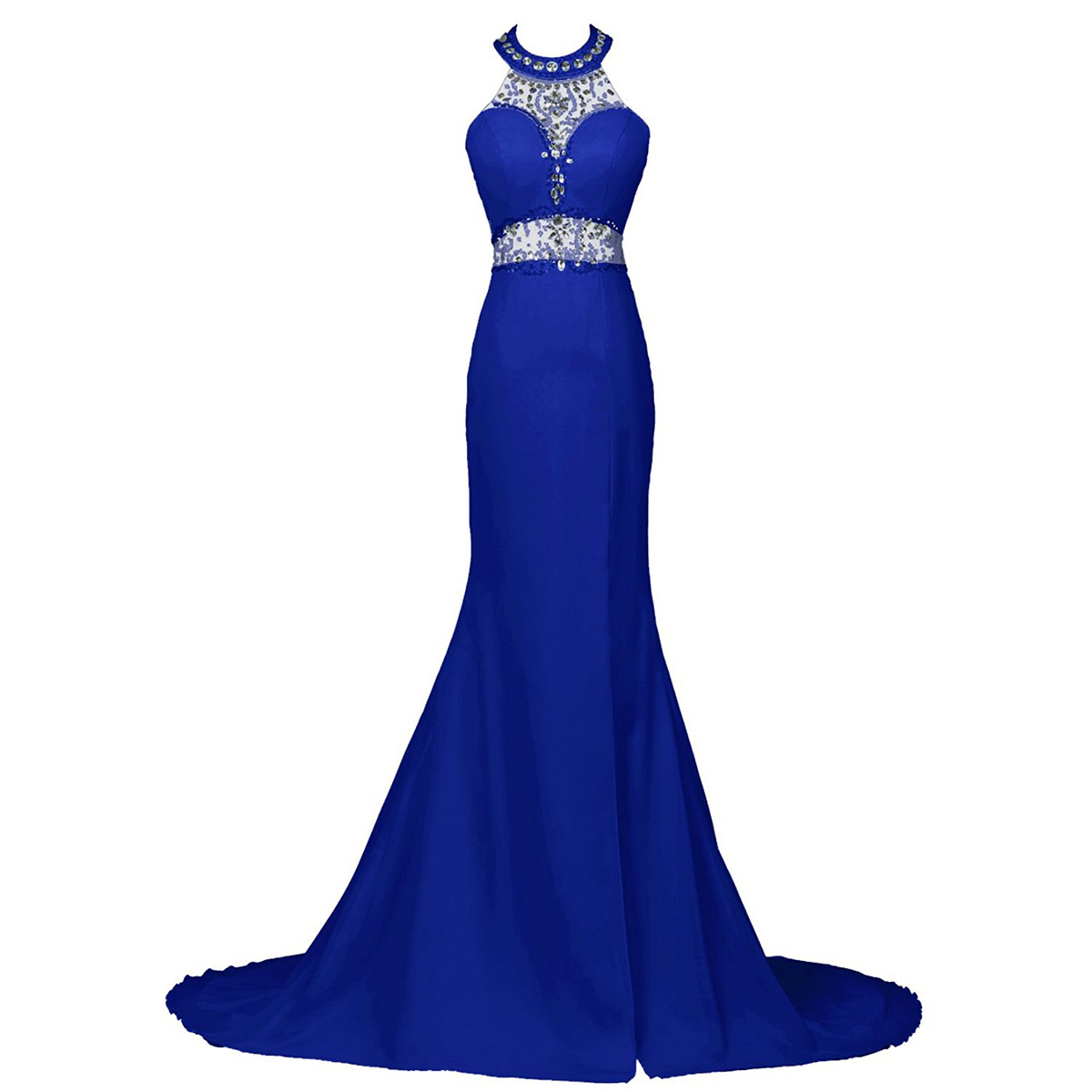 Sexy Beaded Halter Trumpet Prom Dress Royal Blue Sequins Low Back