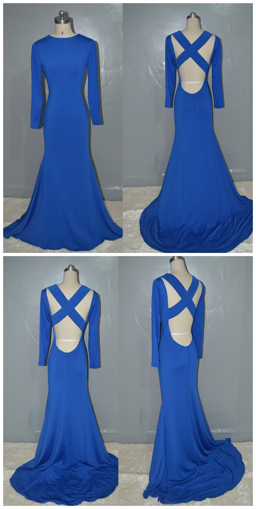 Royal Blue prom dress,Fashion mermaid Backless Jersey Long Prom Dress,Long party Dress,Long Sleeves Muslim evening dress