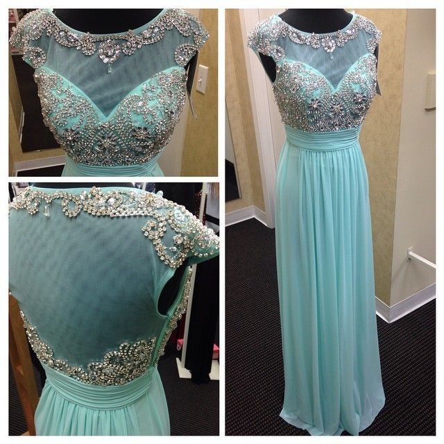 Mint green chiffon and tulle boat neck cap sleeve A line floor length beaded long formal Evening Prom dress