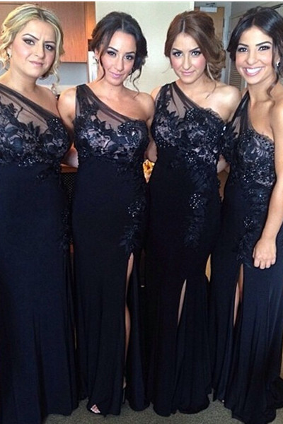 Charming One Shoulder Lace Bridesmaid Dressesfront Split Long Bridesmiad Dressesnavy Blue Bridesmaid Gowns
